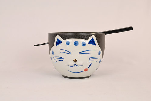 Black Cat Ramen Bowl w/ chopsticks