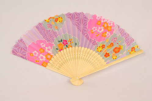 Wood Fan: Pink and Green Flowers