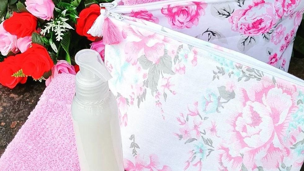 Set portacosméticos + toalla individual +shampoo para manos cremoso 125 cc