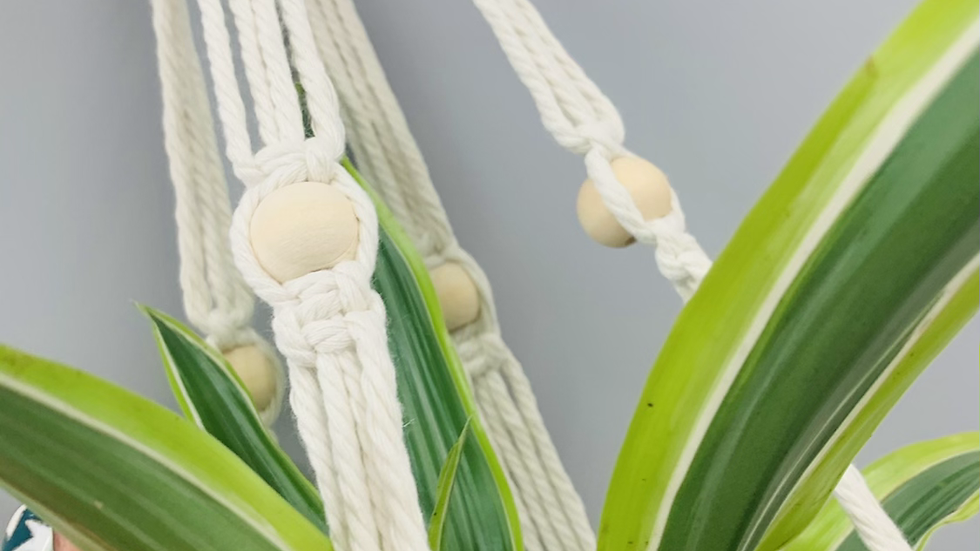 Boho Neutral Macrame Plant Holder