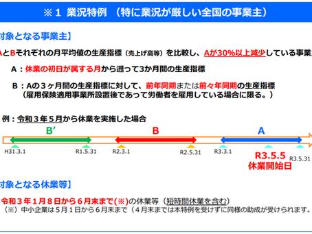 令和3年5月以降の雇用調整助成金の特例延長