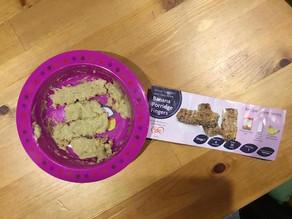 Rex's first food: Soggy grey porridge fingers