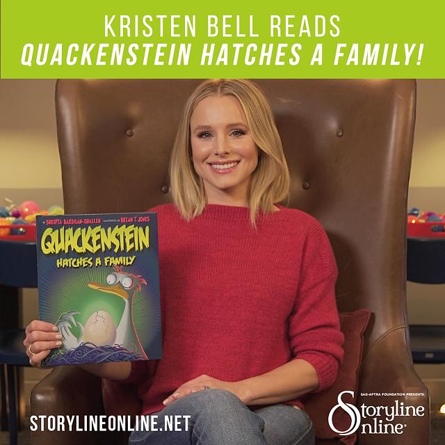 Kristen Bell reads her favorite children's book Quackenstein Hatches a Family for Storyline Online®