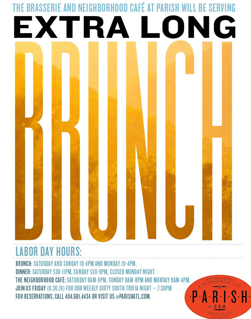 Extra Long Brunch at PARISH This Labor Day Weekend: