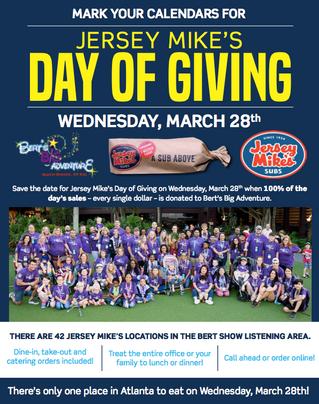 RELEASE: Atlanta-area Jersey Mike's Restaurants Invite Guests to Help Support Bert's Big Adv