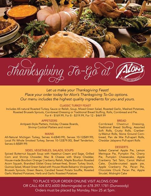 Alon's Bakery & Market Announce Annual Thanksgiving To Go Menu