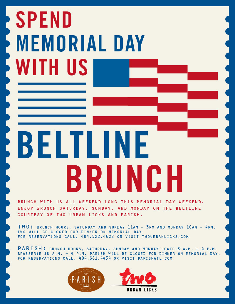 Spend Memorial Day Weekend at TWO and PARISH's BeltLine Brunch