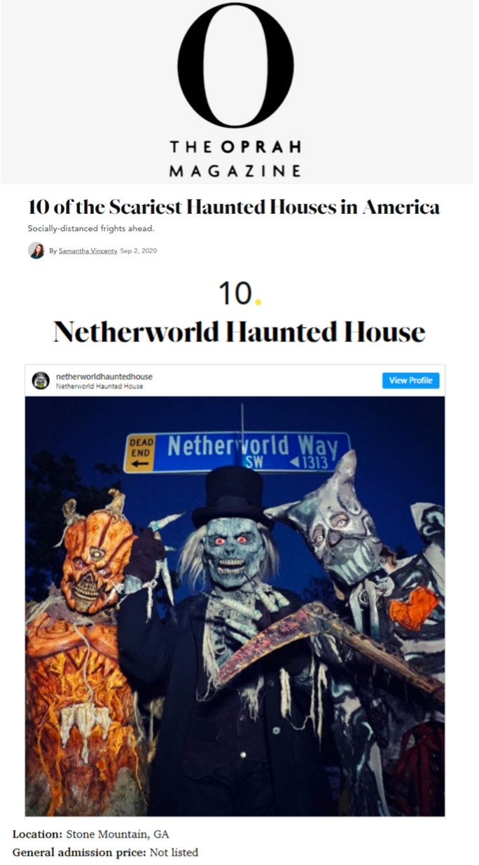 NETHERWORLD Haunted House Lands On Oprah Magazine's Top 10 Scariest Haunts in America