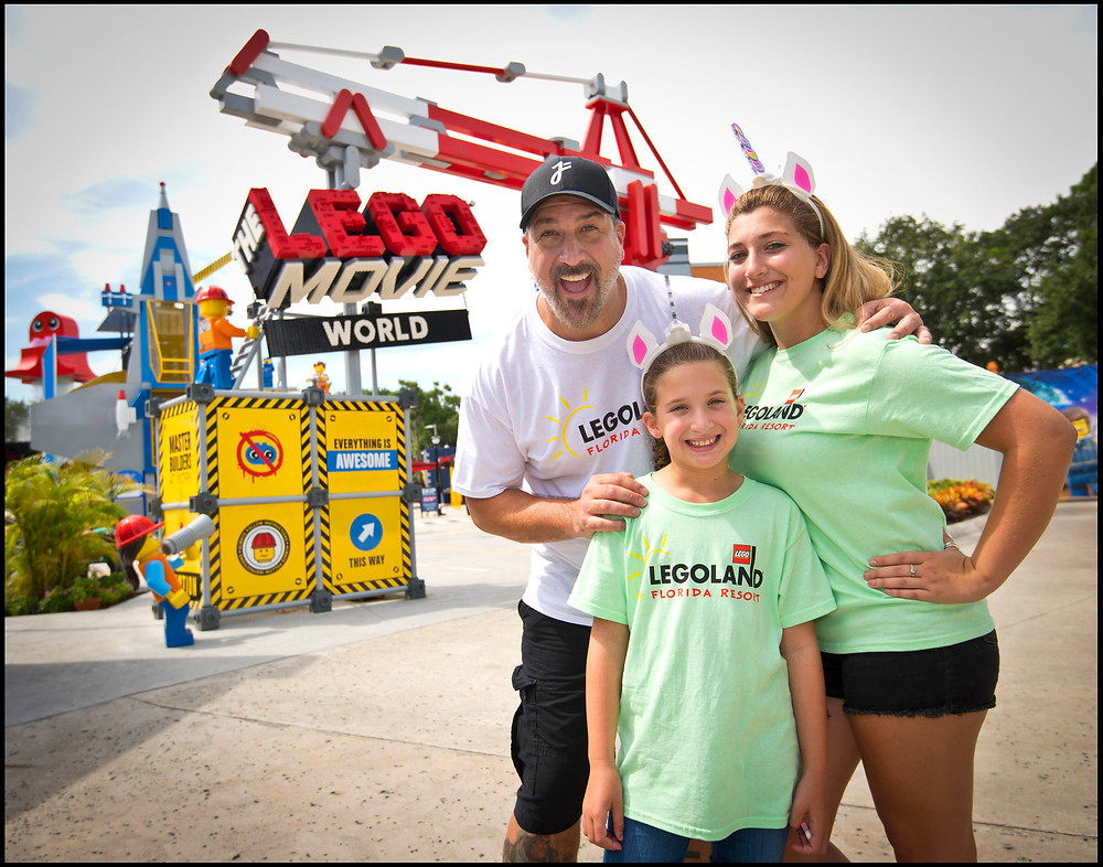 Joey Fatone Explores Lego Movie World with Daughters