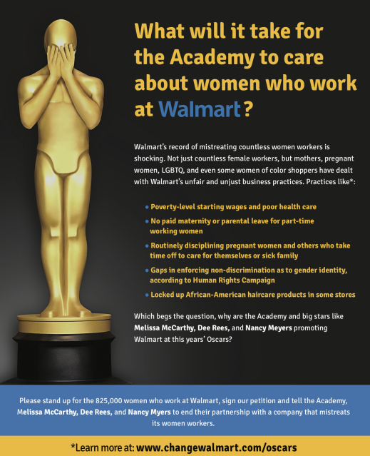 UFCW Asks Leading Female Filmmakers to End Partnership with Walmart's Oscars Campaign