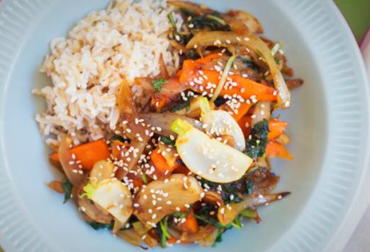 Root Vegetable Stir-Fry with Brown Basmati Rice & Benne Seed