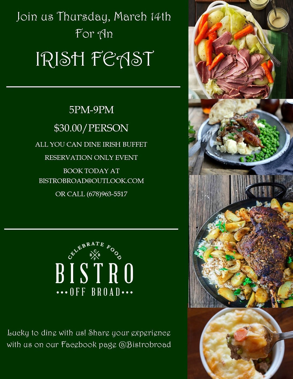 Dine and Imbibe During an Irish Feast at Bistro Off Broad