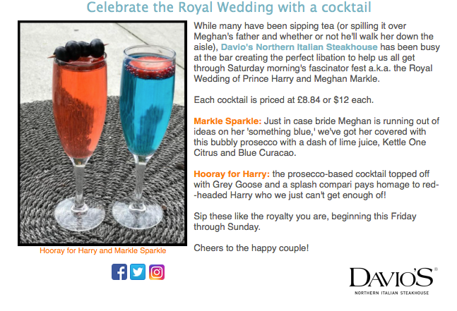 A Toast to the Royal Couple at Davios