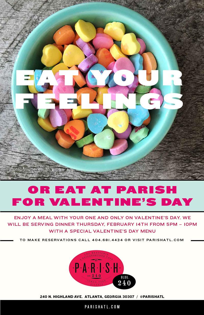 Spend Valentine's Day Dinnerat PARISH in Inman Park