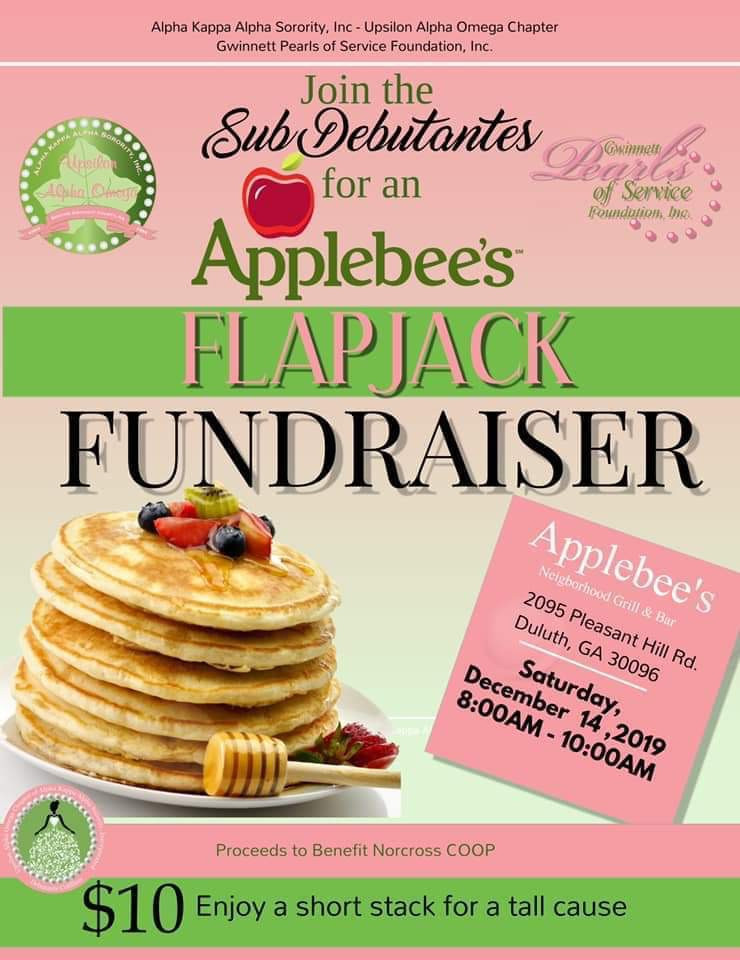 Join the Sub Debutantes for an Applebee's Flapjack Fundraiser. A portion of the proceeds will benefit Hunger & Homeless Awareness.