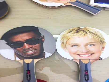 P. DIDDY (SEAN COMBS) GIFTS ELLEN DEGENERES 11 RAVENS LUXURY TENNIS TABLE ON 60TH BIRTHDAY