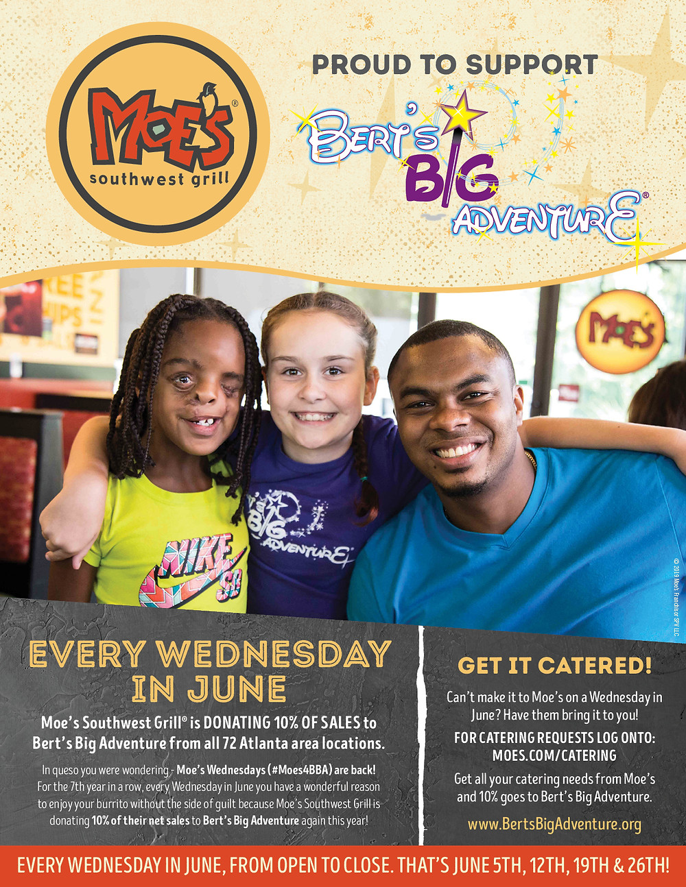 TOMORROW: Dine Out at Moe's to Benefit Bert's Big Adventure