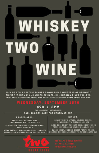 WHISKEY TWO WINE AT TWO URBAN LICKS