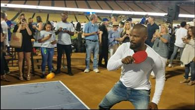 Jamie Foxx Plays Table Tennis for Charity