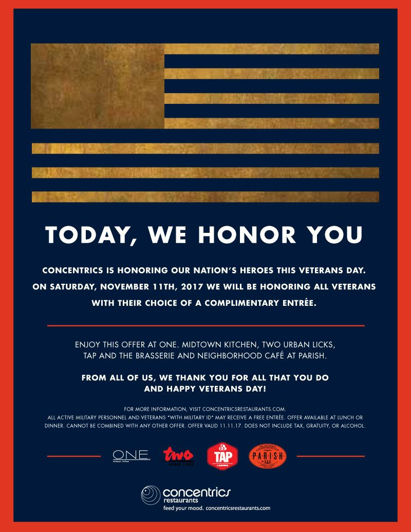 Concentrics Restaurants Offers Freebies This Veterans Day