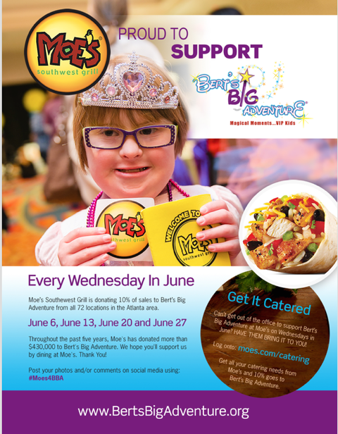 MOE'S SOUTHWEST GRILL® INVITES FANS TO SUPPORT BERT'S BIG ADVENTURE® IN JUNE
