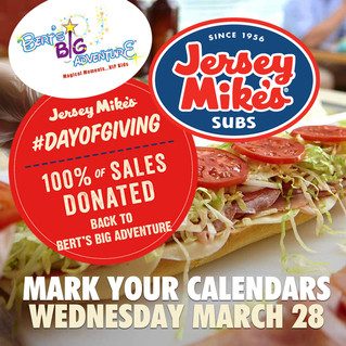 Jersey Mike's Day of Giving benefiting Bert's Big Adventure