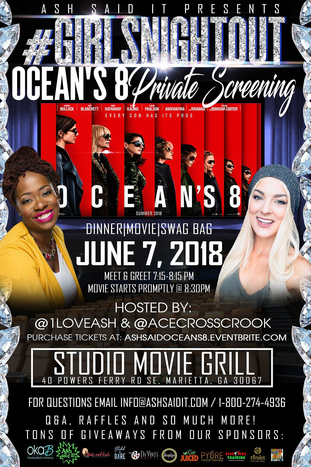 #GirlsNightOut Ocean's 8 Private Screening
