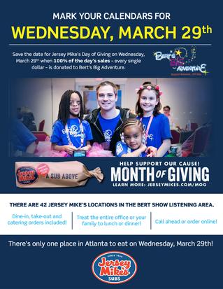 Atlanta-area Jersey Mike's Restaurants Invite Guest to Help Support Bert's Big Adventure