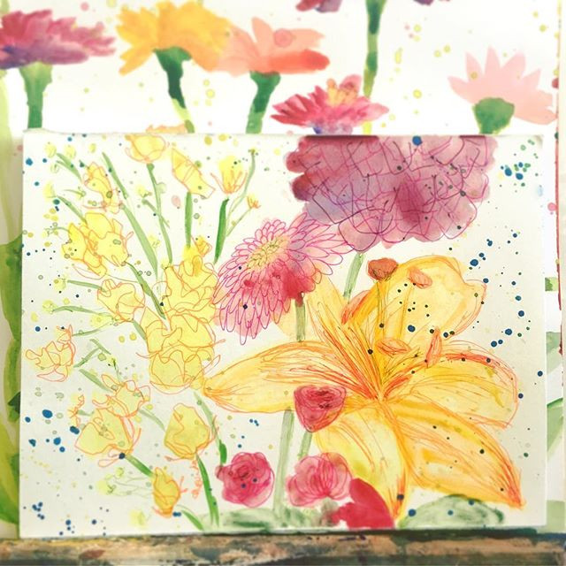 Pen and Watercolor Flower Painting