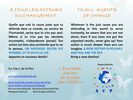 A tous les Acteurs du changement / To all Agents of change