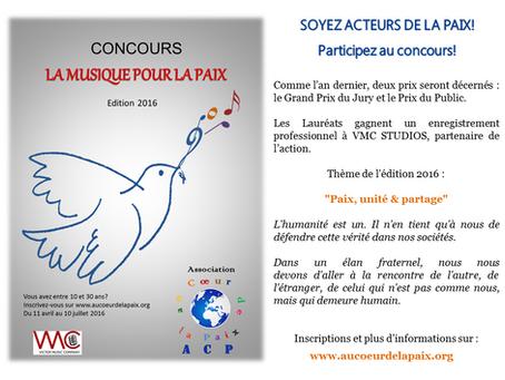 """Concours """"La Musique pour la paix"""" : Ouverture des inscriptions"""