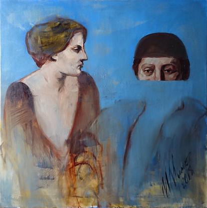 """""""The Conversation"""", canvas, oil, 70x70, 2018"""