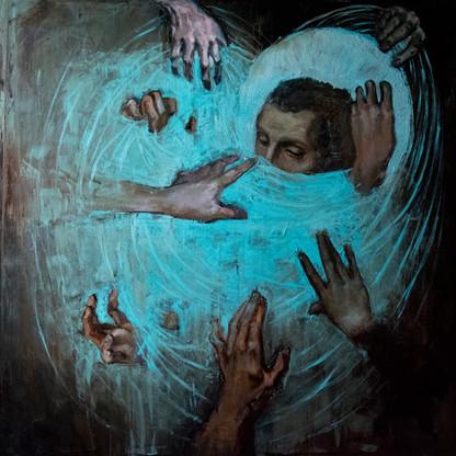 """""""Holy Wifi"""", canvas, oil, 100x100, 2018"""