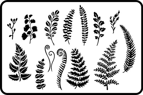 Schablone Ferns and Greenery