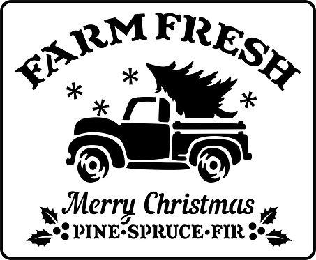 Schablone Farm Fresh Christmas Truck