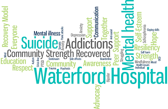 Community Coalition for Mental Health (CC4MH) Newfoundland and Labrador, word cloud, suicide, mental health, addictions, community, support, crisis, recovery, intervention, psychosis, bipolar