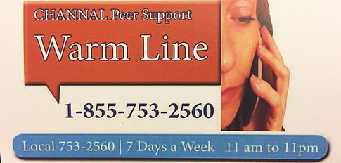 channal, channel, peer support, warm line, local, toll free, mental health
