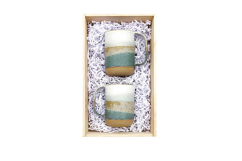 "Coffret 2 grands mugs ""céladon"""