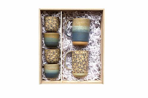 """Coffret 4 tasses + 2 grands mugs """"pétales - bleu"""""""