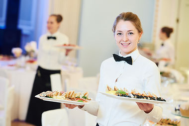 waitress occupation. Young woman with fo