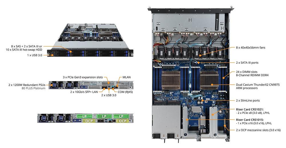 """R181-T90 có 10 khay HDD/SSD 2.5"""" hotswap (10 khay SATA 6 Gb/s hoặc 8 khay SAS 12 Gb/s + 2 khay SATA 6 Gb/s) hỗ trợ 4 cấp độ RAID (RAID 0, RAID 1, RAID 1E và RAID 10)."""