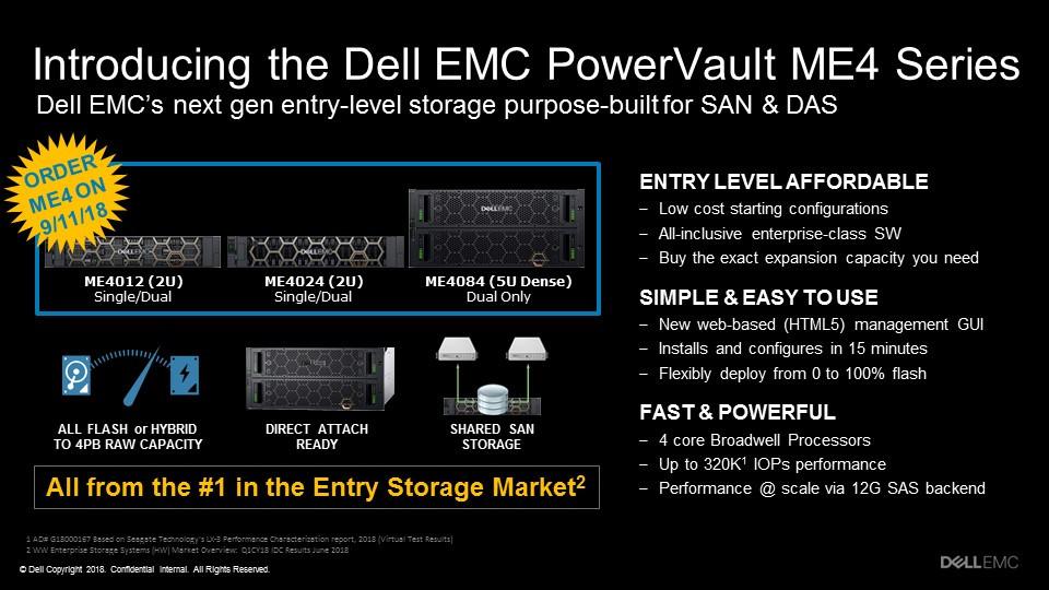 Dòng PowerVault ME4 mới được thiết kế cho những khách hàng đang tìm kiếm một mảng lưu trữ giá cả phải chăng nhưng mà đầy đủ tính năng, nhằm tối ưu khối lượng công việc ảo hóa SAN và DAS.