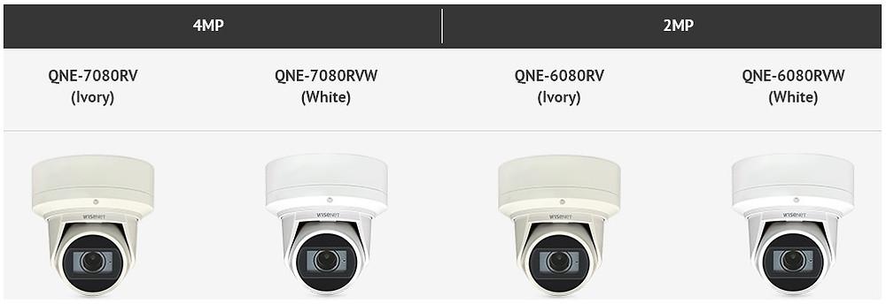4 camera mắt phẳng QNE-6080RV, QNE-6080RVW, QNE-7080RV và QNE-7080RVW cho thời tiết ẩm ướt của công ty an ninh toàn cầu Hanwha Techwin.