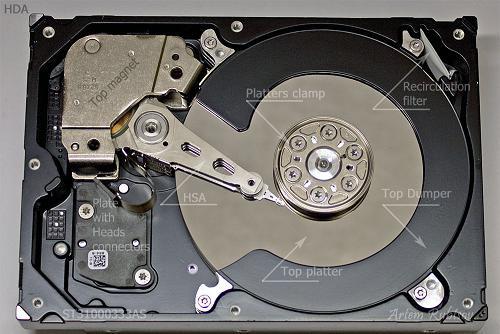 HDD Seagate ST31000333AS sau khi mở nắp.