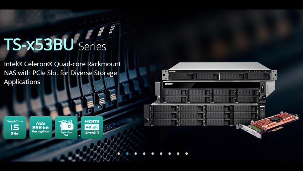 QNAP TS-x53BU: Dòng máy chủ NAS dạng rack với SSD M.2 & kết nối 10GbE.
