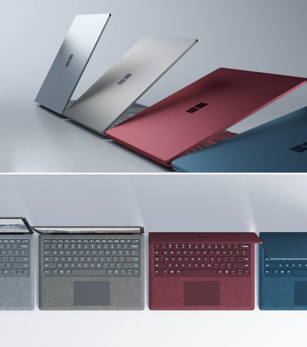 Khi xuất xưởng vào ngày 15 tháng 6 sắp tới tại Mỹ, máy tính xách tay Surface sẽ được trang bị CPU Core i5-7200U, RAM 8GB và SSD 256GB, với 4 màu sắc tùy chọn: bạch kim, vàng xám, xanh cô-ban và đỏ tía.