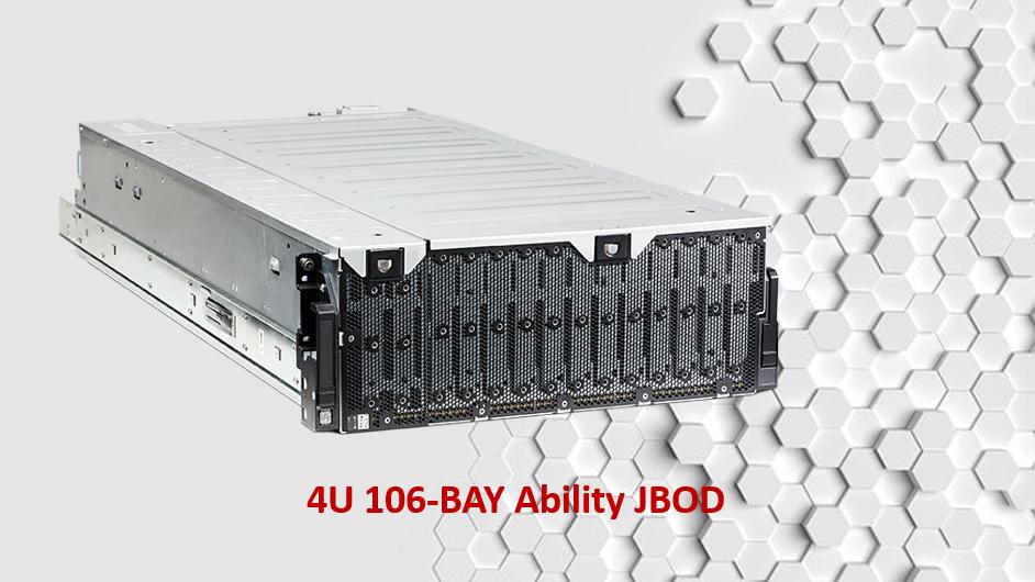 Hệ thống máy chủ JBOD Ability 4U 106-khay SAS 12Gb.