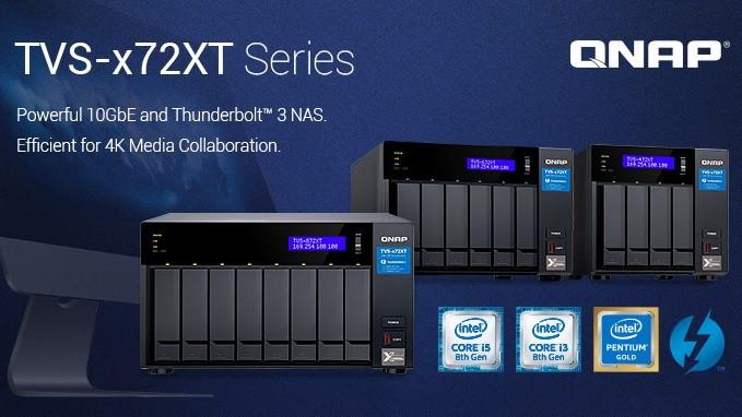 QNAP TVS-x72XT: Dòng máy chủ NAS 10GBASE-T và Thunderbolt 3.