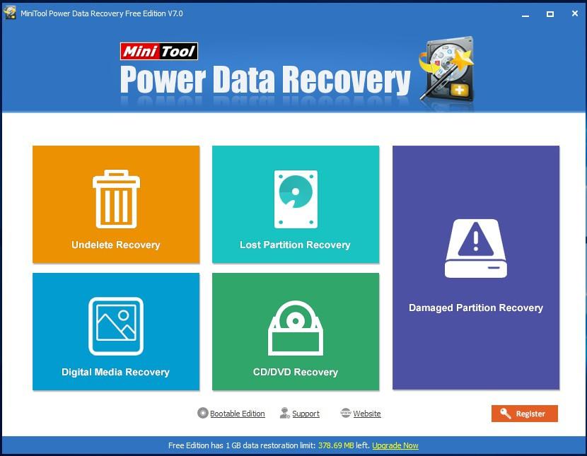 Giao diện chính của phần mềm cứu dữ liệu MiniTool Power Data Recovery v7.0.