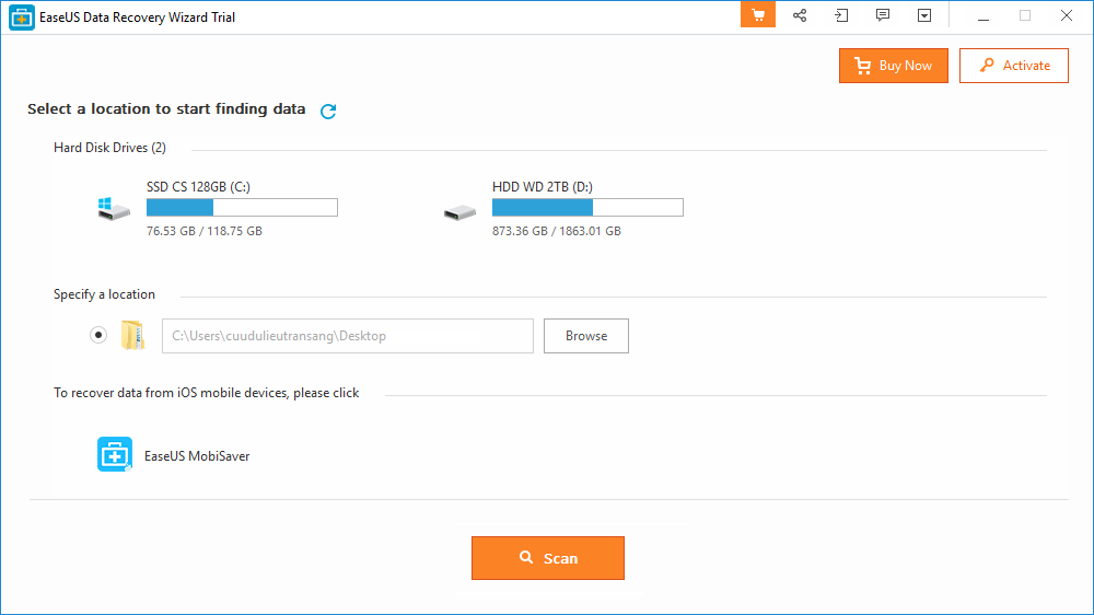 Giao diện chính của phần mềm cứu dữ liệu EaseUS Data Recovery Wizard v11.6